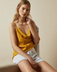 TED BAKER RANIAA Yellow spotted cowl neck cami / summer camisole