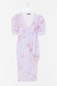 Nasty Gal Spring into Action Floral Midi Dress | lilac puff sleeve dresses