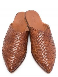ST. AGNI Caio flat leather woven slippers | flat point toe mules