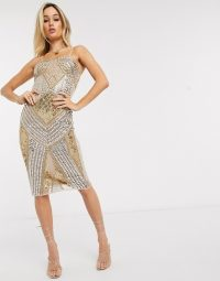 Starlet embellished bandeau mini dress in gold