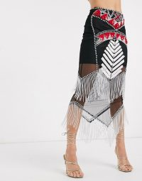 Starlet embellished fringe midi skirt co-ord | semi sheer fringed skirts