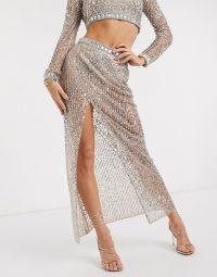 Starlet sheer embellished maxi skirt co-ord in gold | shimmering skirts