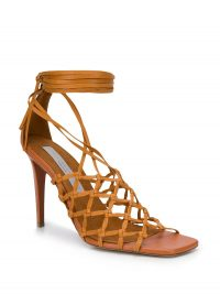 STELLA MCCARTNEY ankle-tie lattice sandals in brown