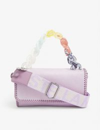 STELLA MCCARTNEY Rainbow chain faux-suede cross-body bag in lilac