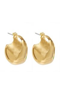 Mounser Stone Hoop 14K Gold-Plated Brass Earrings