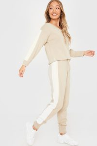IN THE STYLE STONE STRIPE SIDE KNITTED JUMPER AND JOGGER LOUNGE SET – loungewear sets