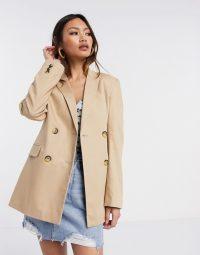 Stradivarius double button linen blazer in beige – longline neutral jacket