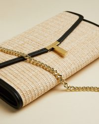 TED BAKER ARTHEA Straw clutch bag / neutral summer occasion bags