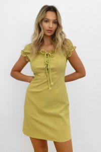 NASTY GAL Strings Attached Lace Up Mini Dress Lime