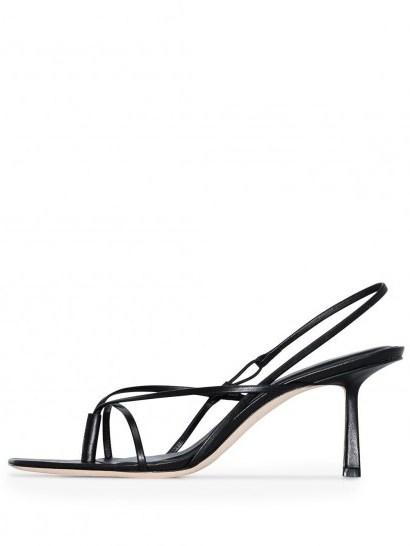 STUDIO AMELIA strappy slingback sandals / black-leather thin strap slingbacks - flipped