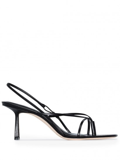STUDIO AMELIA strappy slingback sandals / black-leather thin strap slingbacks