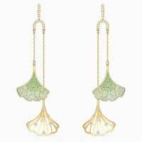 SWAROVSKI STUNNING GINKO MOBILE PIERCED EARRINGS, GREEN, GOLD-TONE PLATED ~ statement drops ~ event jewellery ~ coloured crystals