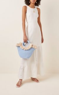 Mizele Sun Bag Mini Raffia-Cotton Tote / blue summer bags