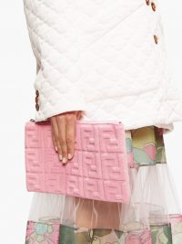 FENDI Sunshine FF-embossed pink towelling pouch