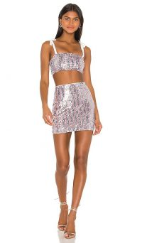 superdown x Draya Michele Angelika Sequin Skirt Set Rainbow | shimmering co-ord