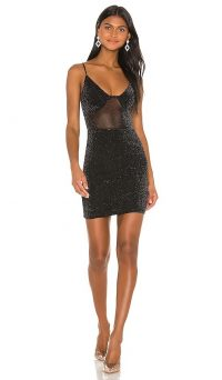 superdown x Draya Michele Lamya Sheer Mini Dress Black | shimmering LBD