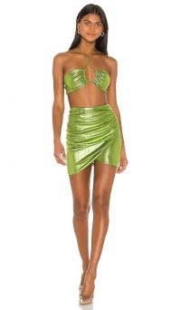 superdown x Draya Michele Natalya Ruched Skirt Set Green Metallic | evening glamour