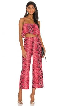 superdown x Draya Michele Zoe Cami Pant Set Neon Pink Snake | bright trouser & crop top co-ords