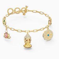 SWAROVSKI SYMBOLIC BUDDHA BRACELET, LIGHT MULTI-COLOURED, GOLD-TONE PLATED ~ charms ~ charm bracelets