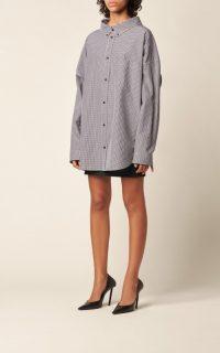 Balenciaga Swing Logo-Print Checked Poplin Shirt Black/White