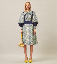 Tory Burch TAFFETA PUFFED-SLEEVE DRESS NAVY TOSSED CONFETTI / volume sleeved dresses