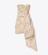 Tory Burch TAFFETA MINI PARTY DRESS TOSSED CONFETTI / strapless floral occasion dresses