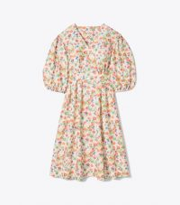 Tory Burch TAFFETA PUFFED-SLEEVE DRESSTOSSED CONFETTI / voluminous summer dresses