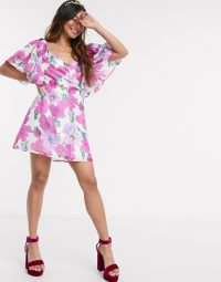 Talulah My Lover floral puff sleeve mini dress – flutter sleeved dresses