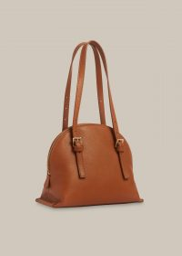 WHISTLES HADLEY BUCKLE DETAIL BAG TAN / brown handbags