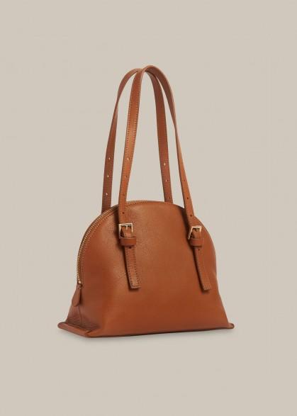WHISTLES HADLEY BUCKLE DETAIL BAG TAN / brown handbags