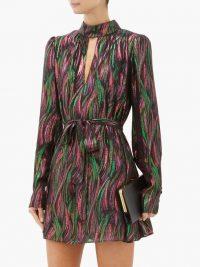 SALONI Tania rainbow-jacquard silk-blend dress