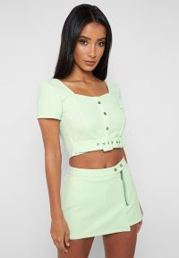 Manière De Voir TEXTURED BUTTON FRONT TOP MINT GREEN