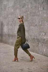 Green and tan outfits