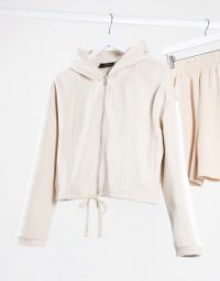 The Couture Club loungewear zip through hoody with contrast side stripe in beige – neutral hoodies