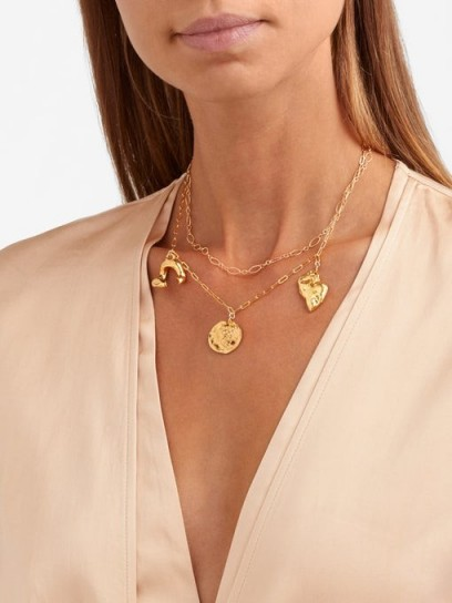 ALIGHIERI The Treasured Everything 24kt gold-plated necklace ~ double chain pendant necklaces