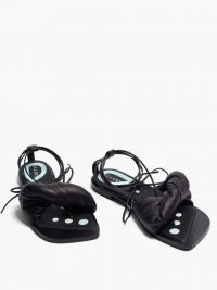 ELLERY Themister wrap leather sandals ~ strappy black summer flats