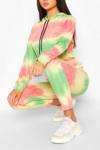 boohoo TIE DYE HOODY AND JOGGER TRACKSUIT GREEN