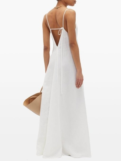 ANOTHER TOMORROW Tie-back organic-linen maxi dress