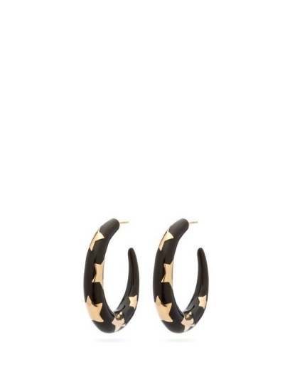 ALISON LOU Étoile enamel and 14kt gold hoops ~ black star inlay hoops - flipped
