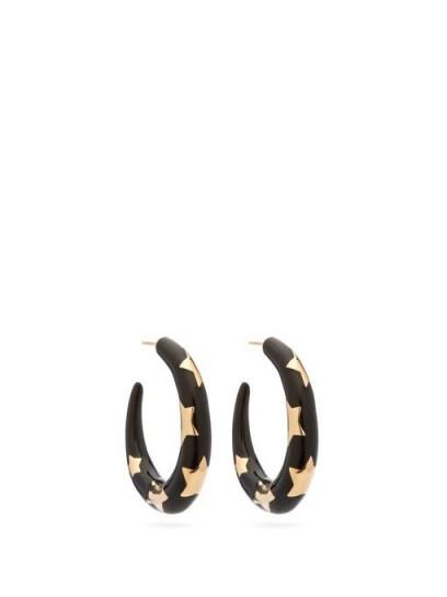 ALISON LOU Étoile enamel and 14kt gold hoops ~ black star inlay hoops