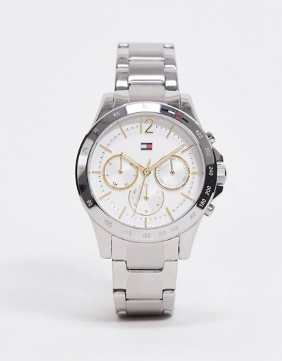 Tommy Hilfiger sunray silver bracelet watch 1782194 | womens round face metal strap watches | splash and rain resistant