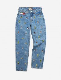 TOMMY JEANS Looney Tunes x Tommy Jeans mid-rise straight graphic-embroidered jeans ~ cartoon characters