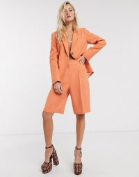 Topshop belted city short co-ord in apricot / orange fashion sets