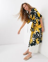 Topshop Boutique midi dress with drawstring waist in floral print