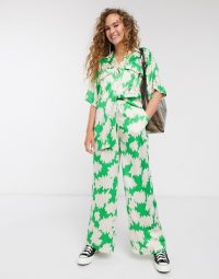 Topshop Boutique satin co-ord in green print