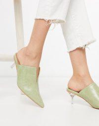 Topshop heeled mules with clear heel in sage – luxe look mule