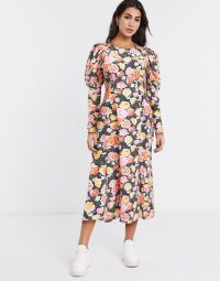 Topshop volume sleeve midi dress in multi