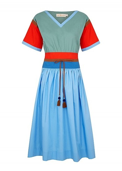 TORY BURCH Colour-blocked cotton-poplin midi dress / blue and red fit and flare