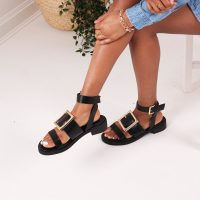 The Fashion Bible BLACK NAPPA TWO PART SANDAL WITH GIANT BUCKLE DETAIL | buckled summer sandals