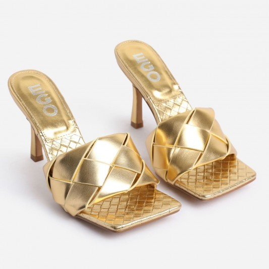 EGO Turntup Woven Square Peep Toe Mule In Metallic Gold Faux Leather – evening glamour